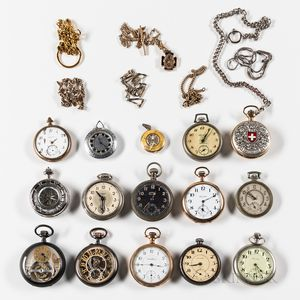 Fourteen American and European Watches and Chains.