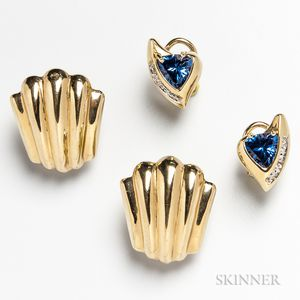 Two Pairs of 14kt Gold Earclips
