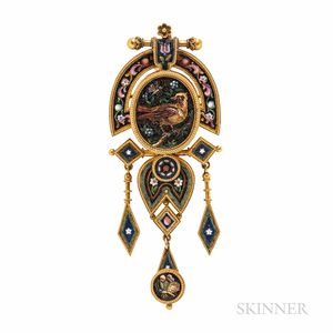 Archeological Revival Gold and Micromosaic Pendant/Brooch