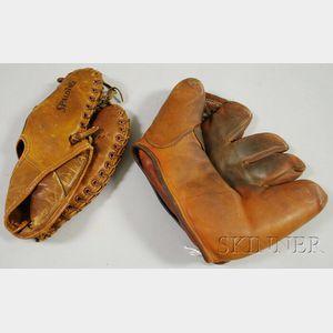 Two Vintage Leather Baseball Gloves