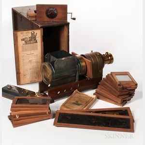 Marcy's Sciopticon Magic Lantern Projector, Slides, and Manual