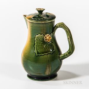Staffordshire Green- and Yellow-glazed Covered Cream Jug