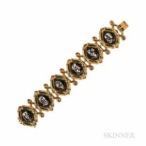 Antique Gold, Silver, and Enamel Bracelet