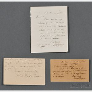 American Letters, Autograph Lot, Julia Ward Howe (1819-1910), William Cullen Bryant (1794-1878), and Oliver Wendell Holmes Senior (1809