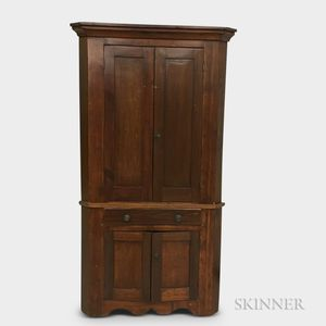 Country Two-piece Pine Corner Cupboard