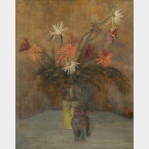 Edward Barnard Lintott (American, 1875-1951)      Floral Still Life with Dog