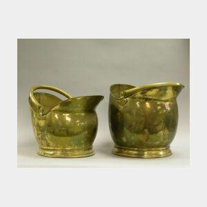 Two Brass Coal Hods.