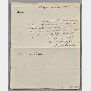 Clinton, DeWitt (1769-1828) Autograph Letter Signed, 22 March 1815.