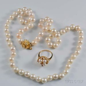 Cultured Pearl Necklace and Ring