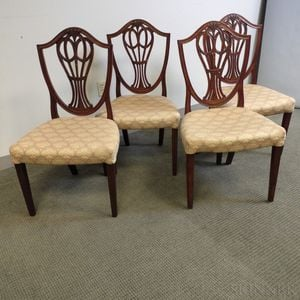 Four George III Mahogany Side Chairs