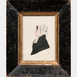 American School, 19th Century      Profile Portrait of Mrs. Porter