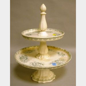 Staffordshire Blue/Gray and White Transfer Decorated Two-Tier Pastry Stand