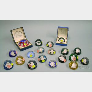 Eleven Faceted Art Glass Sulfide Paperweights