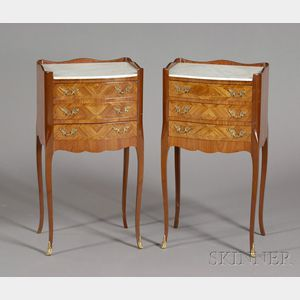 Pair of Louis XV Style Tulipwood and Marble-top Three-drawer Night Tables