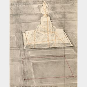 Christo and Jeanne-Claude (American, b. 1935)      Wrapped Monument to Vittorio Emmanuele (Project for Piazza del Duomo, Milano)