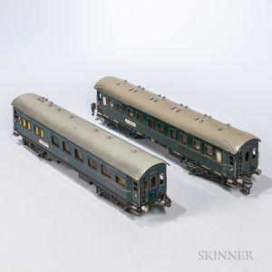 Two Marklin Compaignie Internationale Train Cars