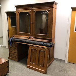 Renaissance Revival Glazed Chestnut and Walnut Desk/Bookcase