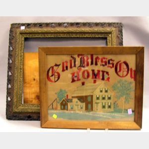 Framed God Bless Our Home Needlework Panel and a Victorian Gilt Gesso Frame.