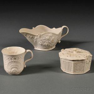 Three Staffordshire Salt-glazed Stoneware Items