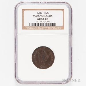 1787 Massachusetts Half Cent, NGC AU58 BN
