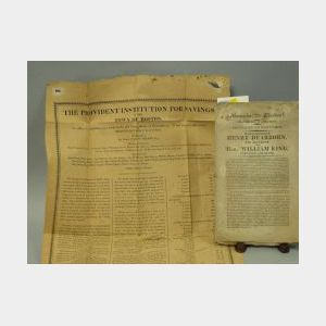 1817 Provident Institution for Savings Broadside and a Massachusetts Election   American Nomination Pamphlet.