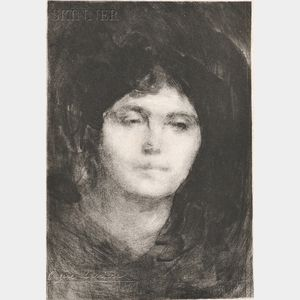 Eugène Carrière (French, 1849-1906)      Two Portrait Heads of Women: Rêverie (2e planche)