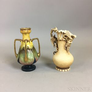 Teplitz Figural Ceramic Pitcher and a Ceramic Amphora Vase