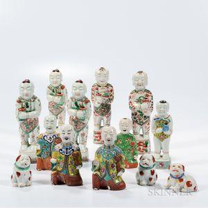 Thirteen Enameled Porcelain Figurines and Animals