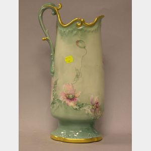 Late Victorian Handpainted Poppy Decorated Limoges Porcelain Pitcher.