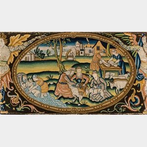 Needlepoint Panel Depicting Farming Activities