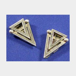 Pair of Sterling Silver Dress Clips