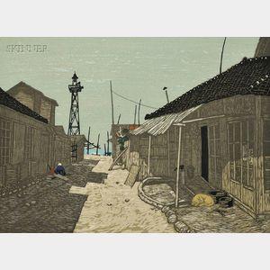 Fumio Kitaoka (Japanese, b. 1918)      Village by the Shore.