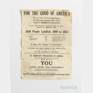 NAACP Anti-Lynching Poster Pre-1922, For the Good of America, Do You Know that the United States is the Only Land on Earth Where Human