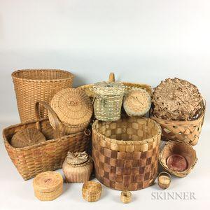 Seventeen Woven Splint Baskets
