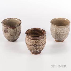 """Three Shimaoka Tatsuzo (1919-2007) """"Jomon Zogan"""" Teacups"""