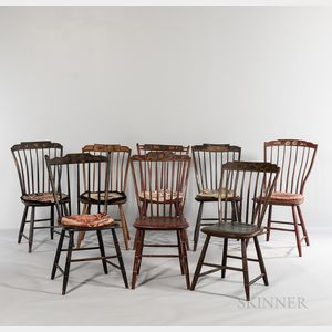 Assembled Set of Eight Paint-decorated Bamboo-turned Step-down Windsor Chairs