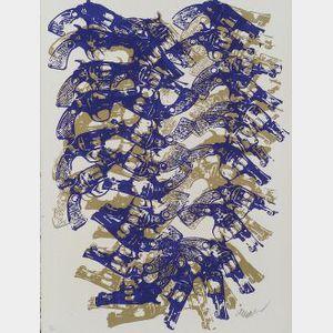 Arman (French/American, b. 1928)  Lot of Three Prints: Yang & Bang, Western Accumulation