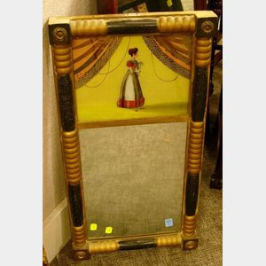 Giltwood and Ebonized Split-Baluster Mirror with Reverse-Painted Glass Tablet.