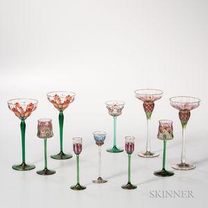Ten Pieces of Bohemian Glass Stemware