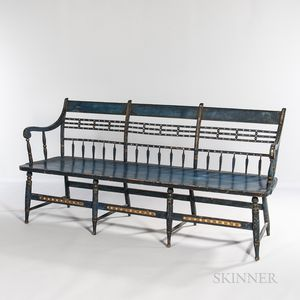 Blue-painted and Paint-decorated Bench