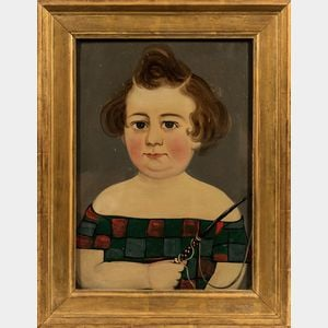 Prior-Hamblin School, Mid-19th Century      Portrait of a Child in a Red- and Green-checked Dress