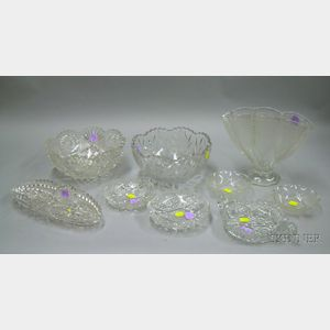 Nine Colorless Cut and Pressed Glass Table Items