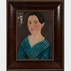 """Attributed to George Hartwell (Massachusetts, 1815-1901)      Portrait of """"Susan"""" in a Blue Dress"""