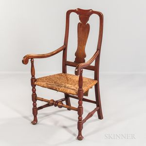 Red-painted Vase-back Armchair