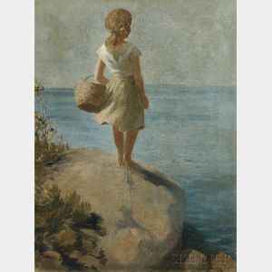 Adam Emory Albright (American, 1862-1957)    Young Girl Gazing at the Sea