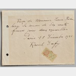Dufy, Raoul (1877-1953) Signed Receipt, Paris, 11 December 1921.