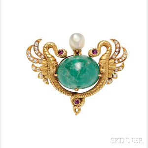 Art Nouveau 18kt Gold, Emerald, and Diamond Pendant/Brooch