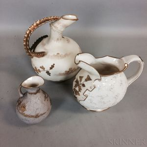 Three Ott & Brewer Beleek Ceramic Pitchers