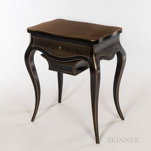 Louis XV-style Brass-inlaid Ebonized Wood Sewing Table