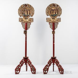 Pair of Red/Gold-lacquered Wood Floor Lantern Stands